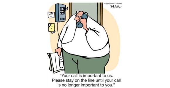 Cartoon man on hold