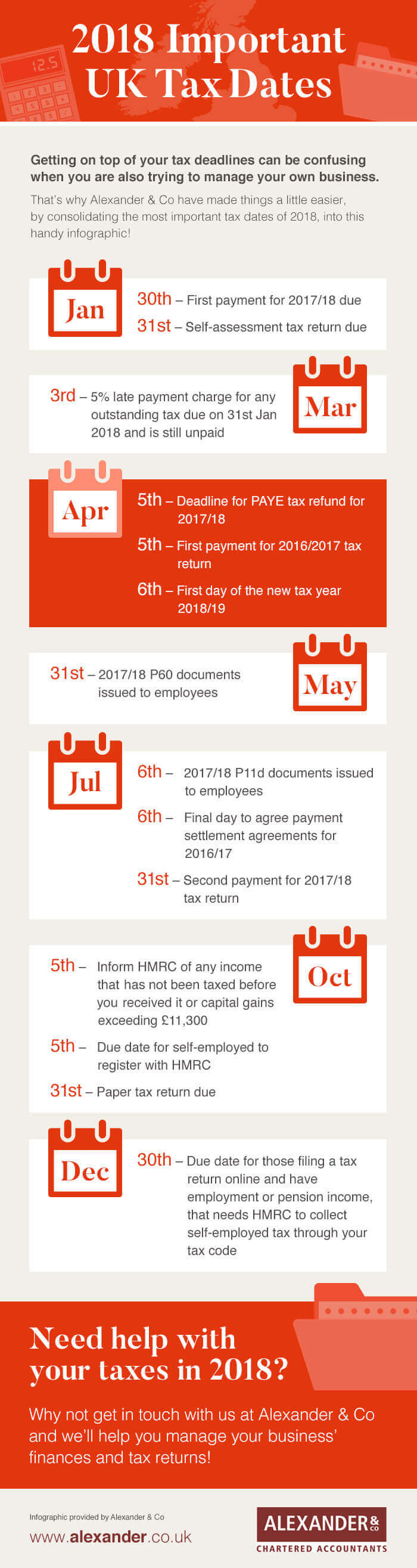 Important tax dates 2018 | Alexander & Co
