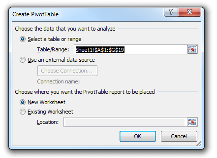 Pivot table dialogue box in Excel